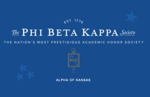 Blue background with white text: Est. 1776 The Phi Beta Kappa Society. The Nation's most Prestigious Academic Honor Society. Alpha of Kansas. Gold outline image of the Phi Beta Kappa key. One light blue star in upper right and a trio of light blue stars on the lower left.