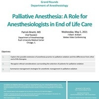 Chief Resident Grand Rounds: Palliative Anesthesia- A Role for Anesthesiologists in End of Life Care