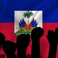 Haitian Flag with Raised Fists