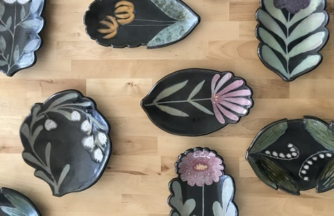 Selection of glazed plates and platters by Artist Ruth Easterbrook.
