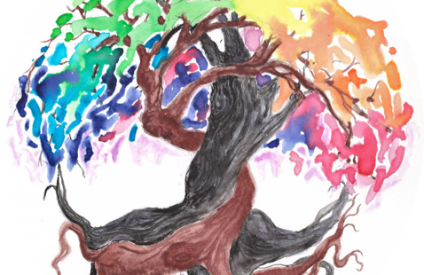 """A colorful tree symbolizing """"growing together."""""""