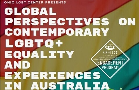 """Colorful text featuring the event title, """"Global Perspectives on Contemporary LGBTQ+ Equality and Experiences in Australia."""""""