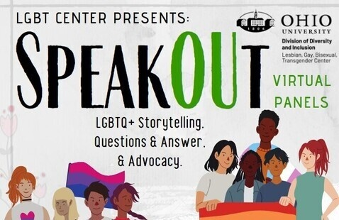 """A flier featuring the text, """"Speakout: LGBTQ+ storytelling, questions and answer, and advocacy."""""""