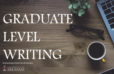 "Image of desk and ""Graduate Level Writing"" text"