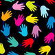handprints in multiple colors (yellow, blue, pink, red, etc.) on a black background