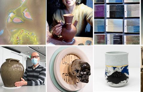 artwork and instructors representing summer 2021 online classes at the Ceramics Program