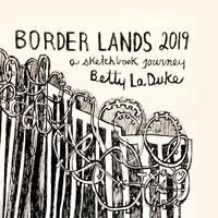 pen drawing of border wall with barbed wire on top