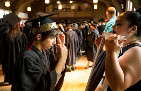 2021 Commencement: Student enrobing