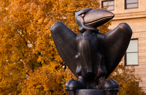 Bronze Jayhawk statue in front of Strong Hall