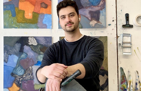 MAAM Museum Attendant and artist Nick Makiej '21 in his studio. Photo courtesy of the artist.