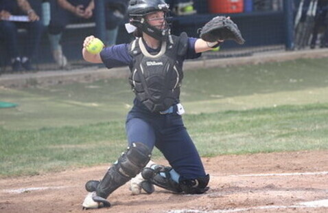 female softball catcher getting ready to throw a ball