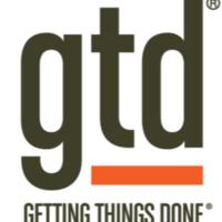 """gtd"" in big black letters, GETTING THINGS DONE in smaller black letters underneath, red horizontal line between"