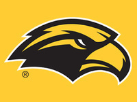 Black and Gold Golden Eagle Logo on a Gold Background