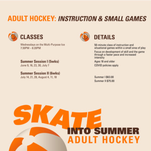 Adult Hockey Instruction & Small Games | Summer I