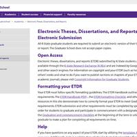 ETDR Landing Page at K-State
