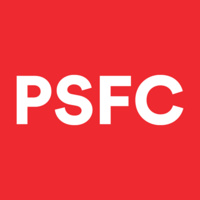 PSFC logo, white letters on red background
