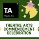 Theatre Arts Departmental Logo, Theatre Arts celebratory unicorn (yellow, with pink graduation cap and 5 yellow stars).