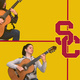 Student playing classical guitar against USC background
