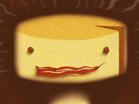 Yellow cheese head graphic for the Southern Arena Theatre: The Stinky Man and Other Fairly Stupid Tales