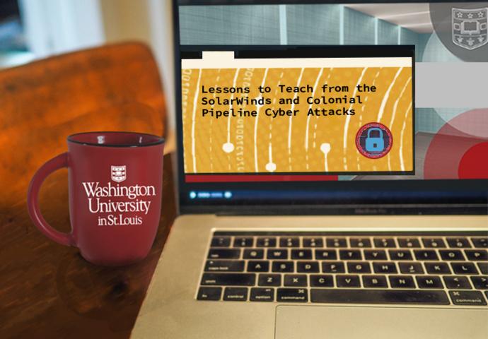 WashU Coffee mug alongside laptop showing webinar title