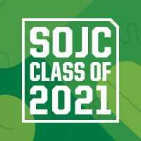 SOJC Class of 2021 - green background with white lettering