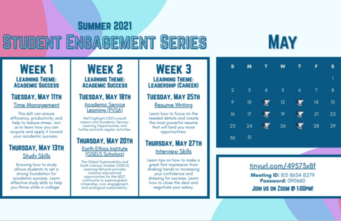 Student Engagement Series- Thursdays (2nd year students) COLLEGEWIDE