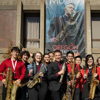 SOU Student winds ensembles in front of the SOU Music building