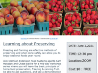 Flyer for freezing and canning workshop picture of peaches and strawberries in paperboard baskets