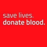 Save lives. Donate blood. This is on a bright red background.