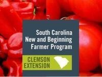 Red Bell Peppers and Red Tomatoes with the text South Carolina New and Beginning Farmer Program