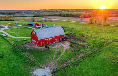 The Farm at Prophetstown barn at sunset. Photo by Frank Oliver.