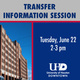 Transfer Information Session - Tuesday, June 22 from 2-3pm