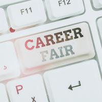 "A button on a computer keyboard reads ""Career Fair"""