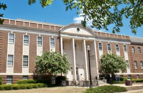 Gordon Palmer Hall exterior as seen from Hackberry Lane