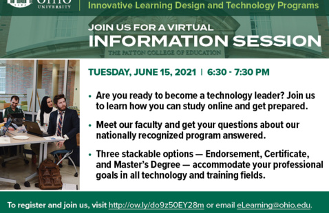 Flier for the June 15, 2021 Innovative Learning Design and Technology programs info session