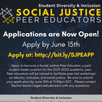 Applications for Social Justice Peer Education Program Are Extended!