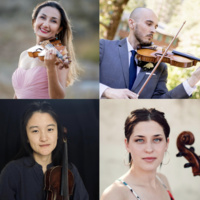 UCSB Young Artists String Quartet (clockwise from top left: violinist Gulia Gurevich, violinist Anthony Navarro, cellist Naomi Stoodley, violist Shirley Shang)