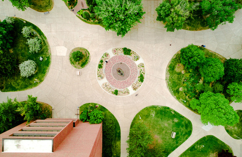 Aerial view of the campus mall from above the Husky Statue.