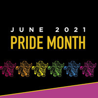 June 2021 pride month. There are clipart images of Toro in pink, orange, yellow, green, blue and purple.