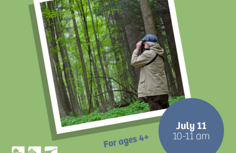 """Green background with an image of a person in the woods with binoculars. Reads: """"Eco-Explorers Tree-rific July 11 10-11am For ages 4+"""""""