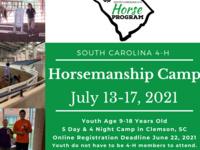 Horsemanship Camp on July 13-17, 2021 at Clemson University