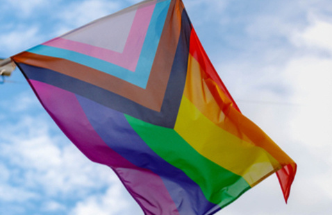 The Daniel Quasar Pride Flag features the six rainbow colors of the Pride Flag and a triangle including colors of the transgender flag and black and brown stripes representing queer people of color.