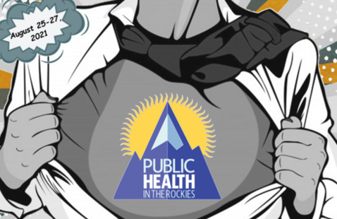 Comic book superhero image with Public Health in the Rockies logo