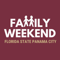 """""""Family Weekend Florida State Panama City"""" with two cut out people holding hands"""