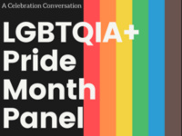LGBTQIA+ Pride Month Panel with rainbow flag