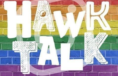 Hawk Talk logo on rainbow background