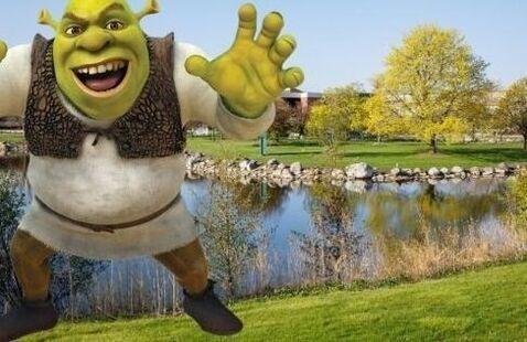 Shrek on Harper College campus