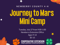 Newberry County 4-H Journey to Mars Mini Camp