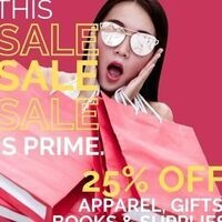 THIS SALE IS PRIME!  25% OFF AT THE UMC BOOKSTORE