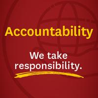 Text: Accountability, We Take Responsibility